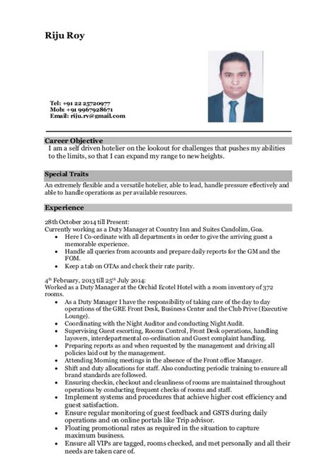 resume for hoteliers riju roy resume 1
