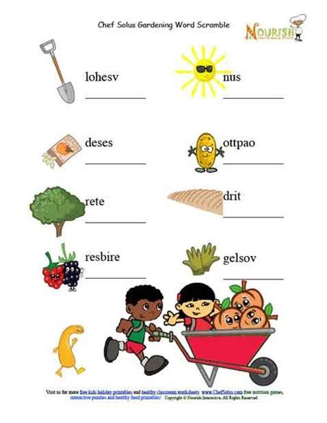 Gardening Worksheets Garden Picture Unscramble Word Puzzle