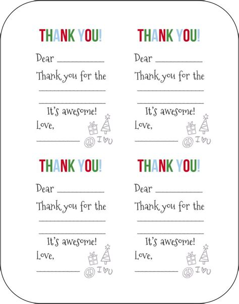printable thank you cards for students christmas free fill in the blank christmas thank you cards for kids