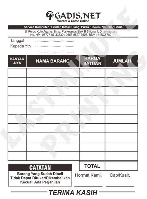 Buku Nota 1 Ply jual cetak nota hvs 1 ply murah sprint shop