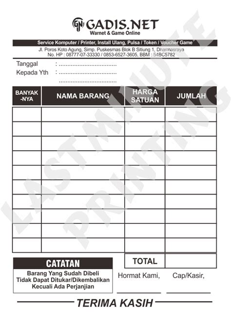 Nota 2 Ply By Plasmasrt jual cetak nota hvs 1 ply murah sprint shop