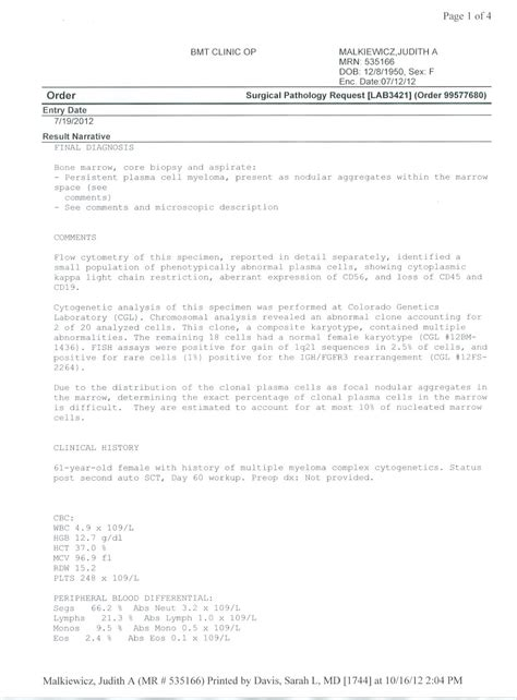 biopsy report sample cpt code for bone survey for myeloma share the knownledge