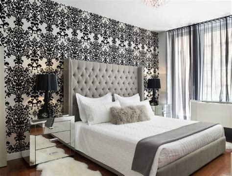 Houzz Wallpaper Bedroom by Wallpaper Feature Wall Grey Bedroom Home