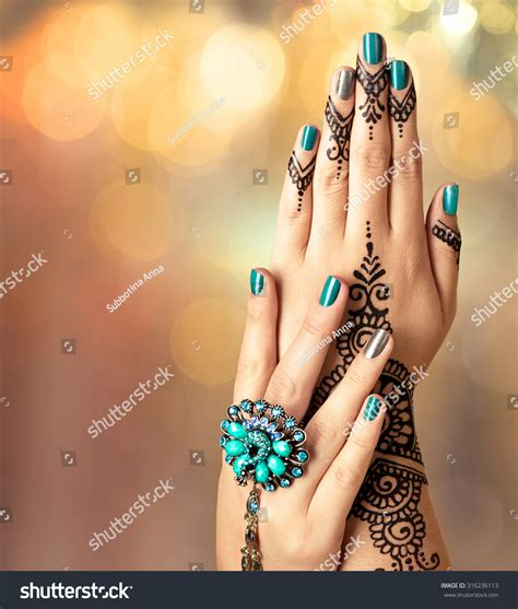 henna tattoo hand z rich black mehndi stock photo