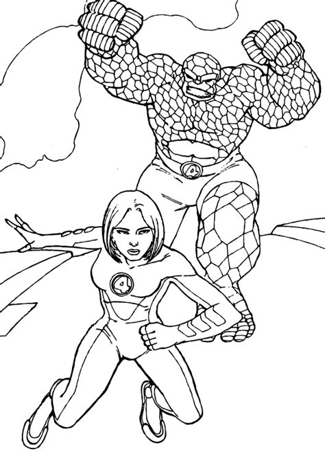 Invisible Woman And The Thing Coloring Pages Hellokids Com The Thing Coloring Pages