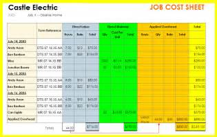 employee job costing sheet template excel employee