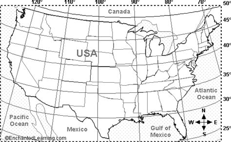 latitude map united states usa contiguous latitude and longitude activity printout