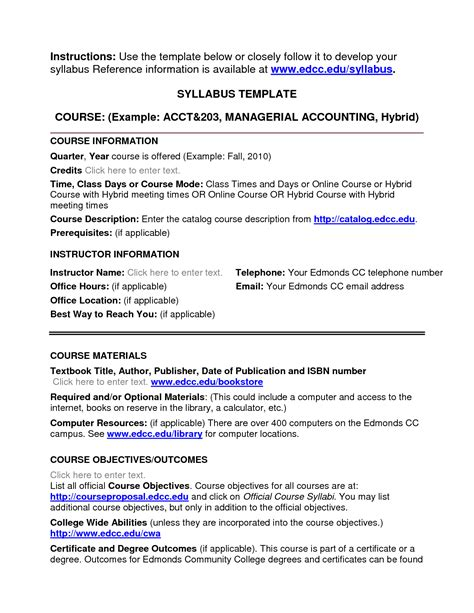 college syllabus template image gallery college syllabus