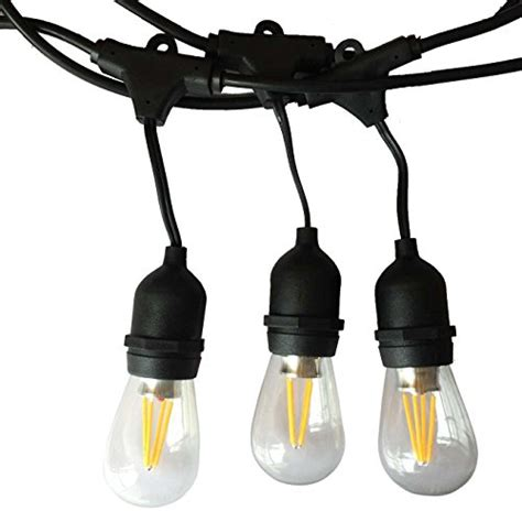 Commercial Grade String Lights Outdoor 48ft 15 4 Watt Led Bulbs Included Dimmable Led Outdoor Weatherproof Commercial Grade String