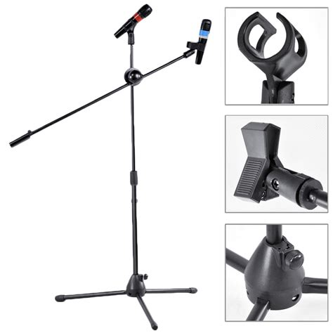 Holder Mic Import 2 pack dual microphone stand boom arm holder mic clip stage studio tripod b2 ebay