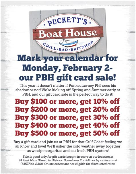 Gift Card Flyer - puckett s boat house offers major discounts on gift card day monday downtown