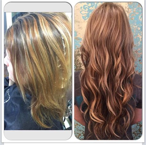mahoganey hair with highlights before and after i installed 18 inch blonde tape in
