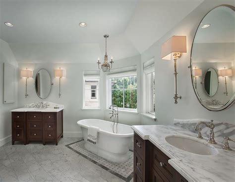 long master bathroom  washstands facing