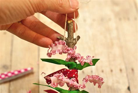 how to string ribbon on a tree scrap ribbon twig tree ornament factory direct craft