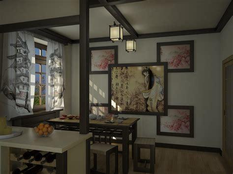japanese style kitchen design and visualization