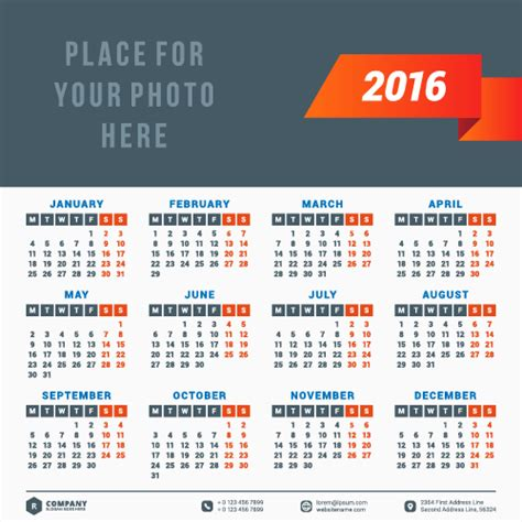 design calendar for 2016 2016 company calendar creative design vector 13 vector