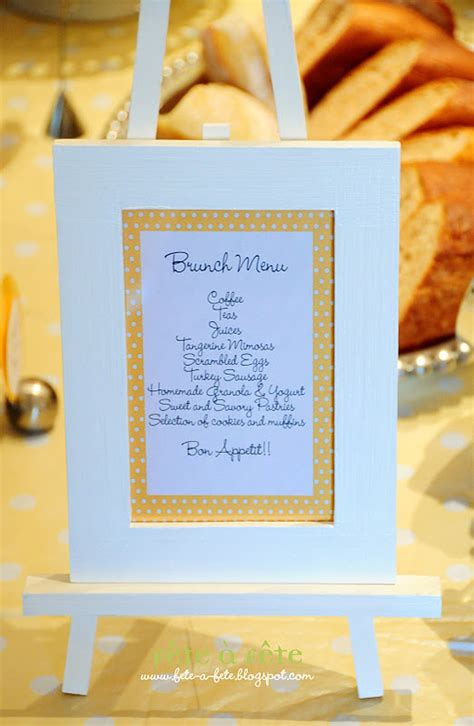 baby shower brunch menu pictures f 234 te 224 f 234 te a black white yellow baby shower brunch