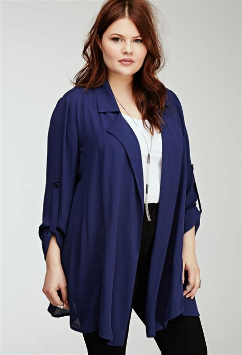Hoodie Cardigan Chiffon Import 1 lyst forever 21 plus size longline chiffon cardigan in blue