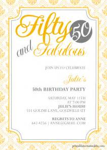 50th Birthday Invitations Templates by Fifty And Fabulous 50th Birthday Invitation Wedding