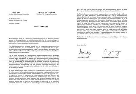 banca popolare di vicenza ferrara ecco la lettera ue a renzi quot no aiuti di stato alle banche quot