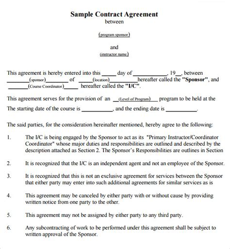 contract agreement 7 free pdf doc download