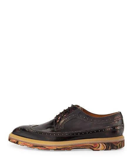 paul smith grand marbleized wing tip shoe black