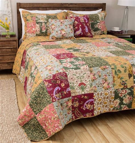 quilted bedding antique country full queen quilt set 100 cotton green