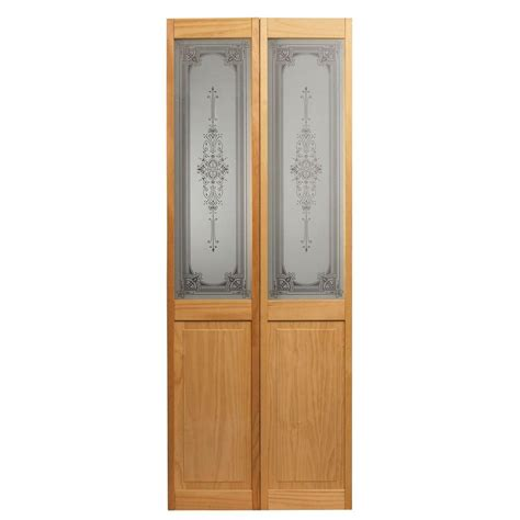 Bi Fold Doors Glass Panels Pinecroft 24 In X 80 In Baroque Decorative Glass Raised Panel Solid Unfinished Pine