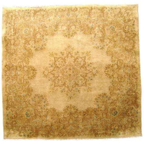 small square rugs vintage kerman rug in small square size with ivory field and soft colors for sale at 1stdibs