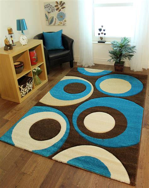 teal blue chocolate brown circle motif entrance mats