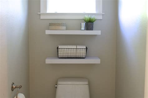 simple diy floating shelves in the bathroom simply