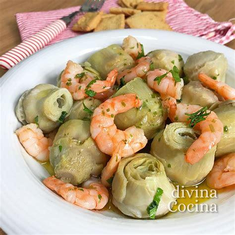 divina cocina recetas alcachofas con langostinos divina cocina