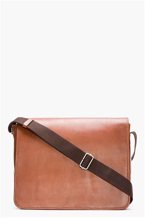 Visval Messenger Bags Brown a p c brown leather messenger bag in brown for lyst