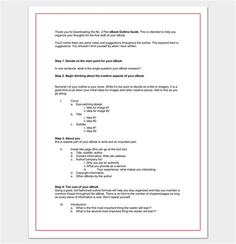 outline template word book outline template 17 sles exles and formats