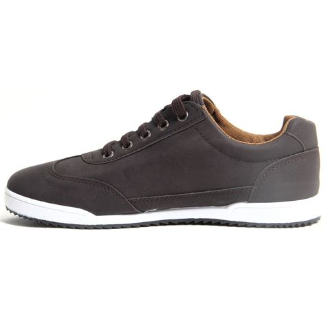 tennis shoes flat mens lace up faux leather casual trainers flat sole