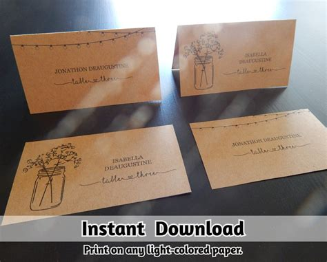 Rustic Place Cards Template by Wedding Place Card Printable Placecard Template