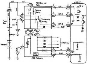 typical toyota abs control relay wiring diagram