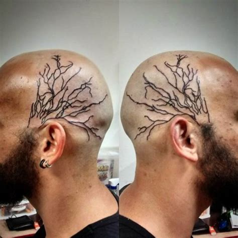 black veins tattoo on head best tattoo ideas gallery