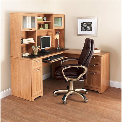 realspace magellan l desk and realspace magellan collection l desk hutch honey maple