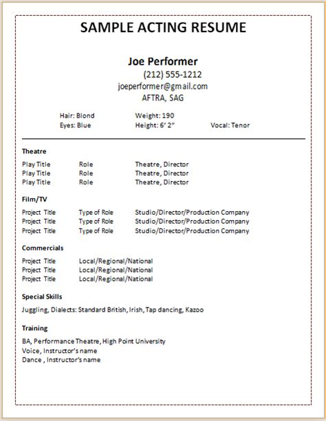 Free Acting Resume Template by Document Templates Acting Resume Format