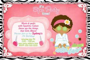 spa slumber invitations cimvitation