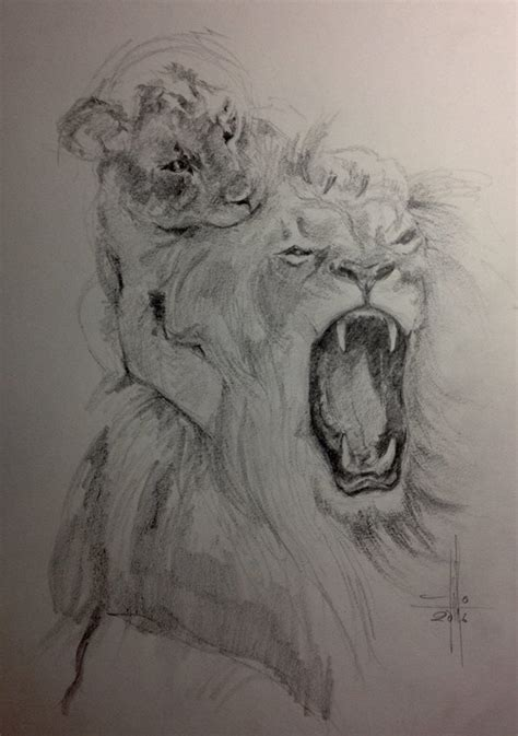 imagenes de toros para dibujar a lapiz dibujo leon y cachorro a lapiz grafito sobre guarro a3