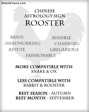 your chinese astrology sign rooster qualities brave