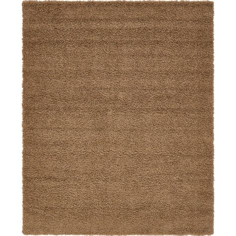 solid brown rug unique loom solid shag brown 9 ft x 12 ft rug 3136688 the home depot
