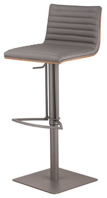 Adjustable Bar Stool With Back Cafe Adjustable Gray Metal Barstool In Gray Pu With Walnut Back Gray Contemporary Bar