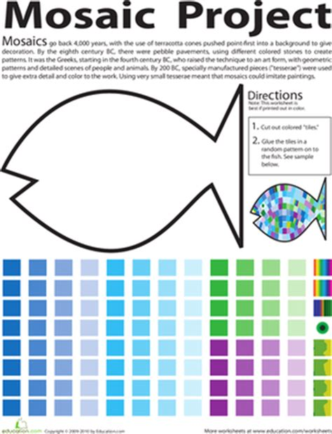 How To Make A Paper Mosaic - cut and paste worksheets for 2nd grade worksheets for