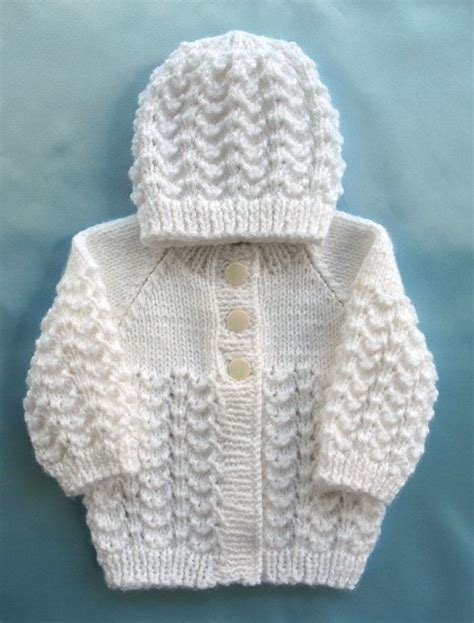 Handmade Knitted - baby sweater knit white set preemie boy premie