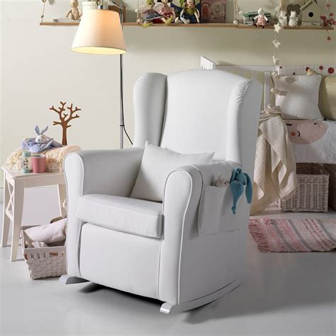 nursery armchair nursing chair in white leatherette nursing chairs