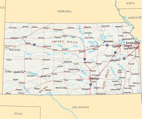 printable map kansas city large map of kansas state with roads highways relief and