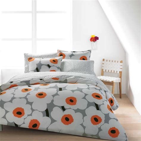 Navy Blue King Comforter Marimekko Unikko Grey White Orange Percale Bedding